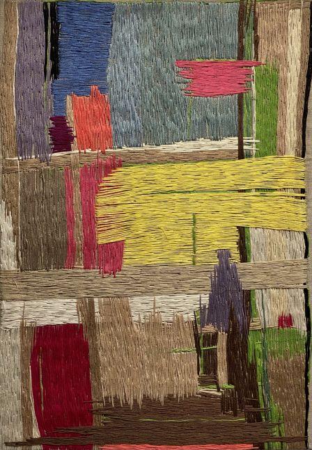"Natasha Das, Untitled Color Composition I  14"" x 20""  Thread On Canvas"