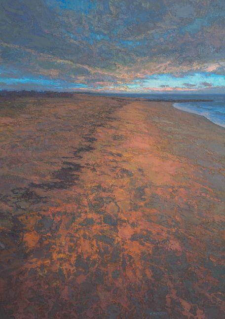 "Toward Evening Beach  54"" x 38""  Oil On Linen"