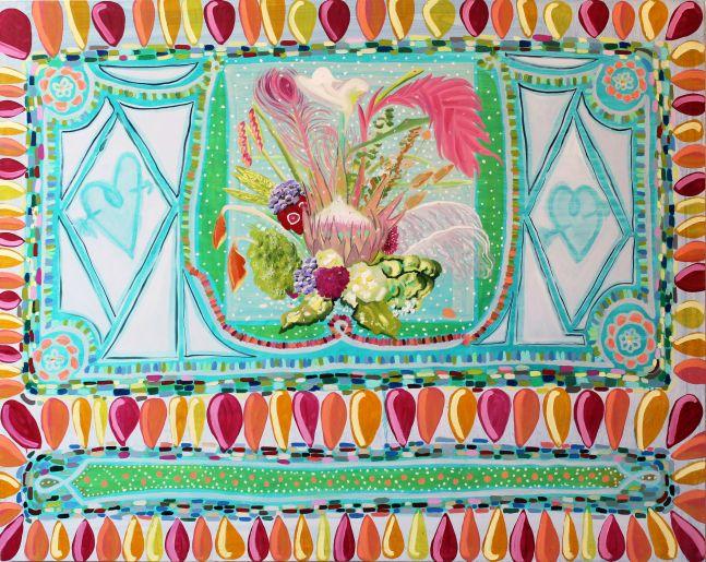 """Kati Gegenheimer, An Idea Of An Arrangement  47"""" x 60""""  Oil On Canvas"""