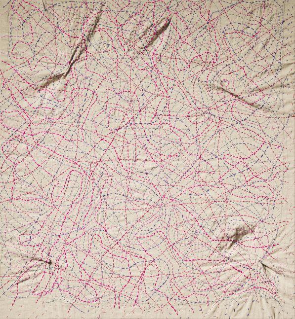 "Kantha Pink  30"" x 28""  Thread On Linen"