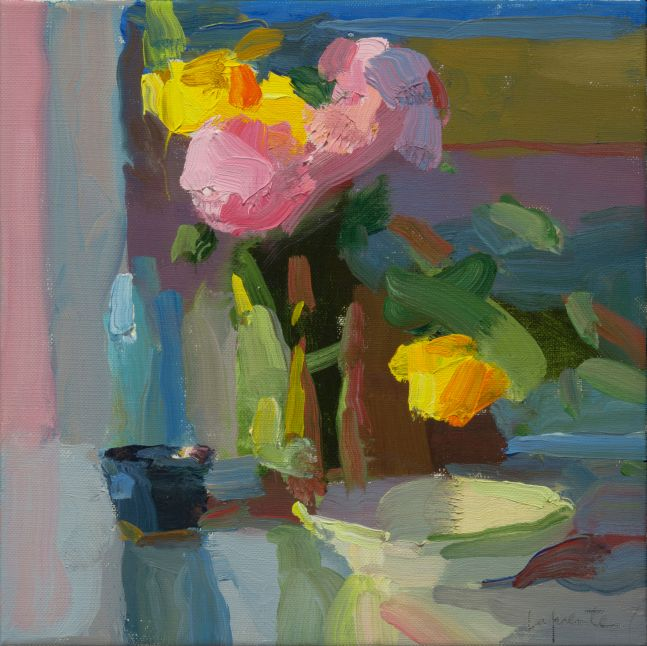 """Cup and Bowl with Peonies and Tulips   10"""" x 10""""   Oil On Linen"""