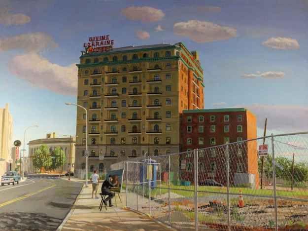 """Divine Lorraine Hotel  36"""" x 48""""  Oil On Canvas"""