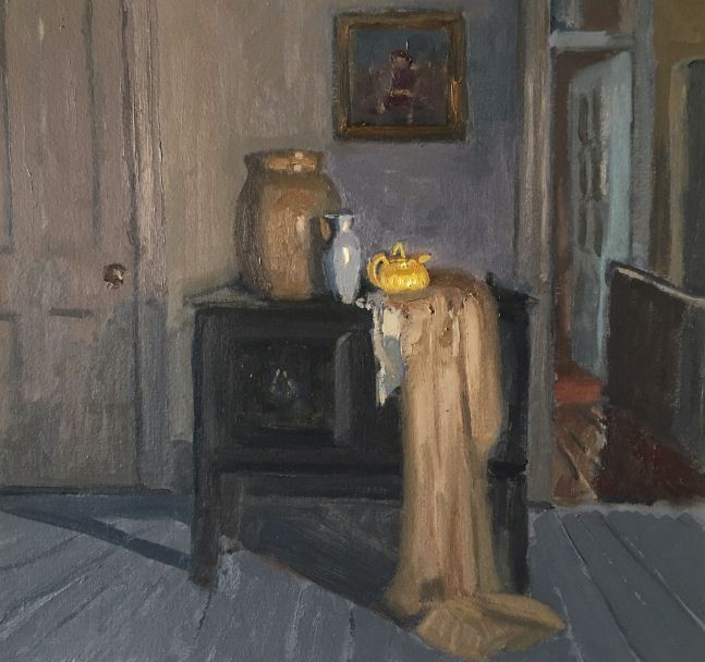 """Interior With Water Jug And Teapot   11.5"""" x 12""""  Oil On Panel"""