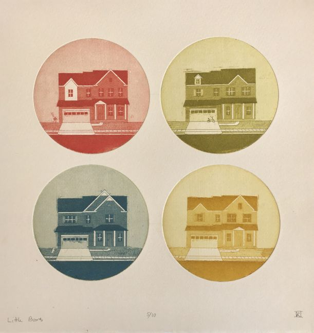 "Little Boxes Paper size: 10x10"" Frame size:16x16""  4-Plate Aquatint"