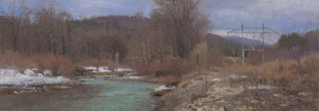 """North Branch, Foundry Hill  5.5"""" x 16""""  Oil On Panel"""