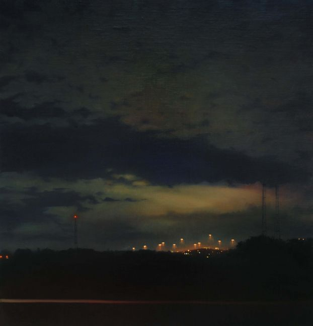 """Nighttime Drive  24"""" x 24""""  Oil On Linen, Mounted Panel"""