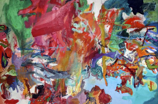 """Artist Benjamin Passione, 24.5"""" by 38"""", Oil On Canvas, Titled Abstraction With White"""