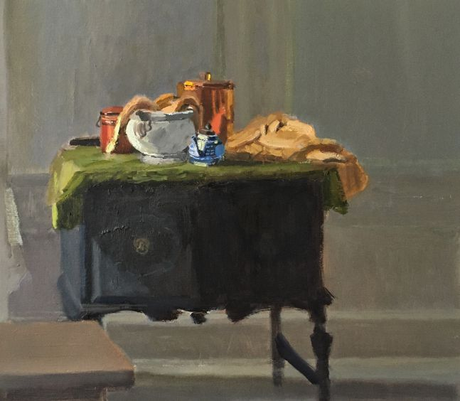 """Interior With Copper Cookie Jar  12"""" x 13.5""""  Oil On Panel"""