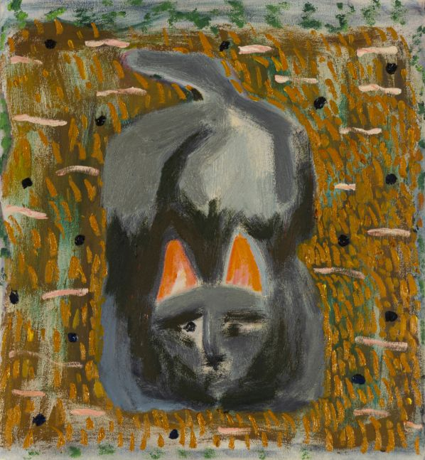"Scaredy Cat - Orange Pillow  22"" x 22""  Oil On Canvas"