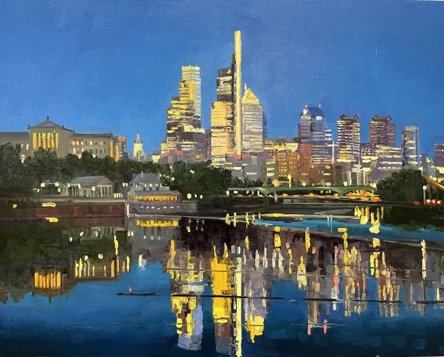 """Philly Night Reflections  24"""" x 30""""  Oil On Linen"""