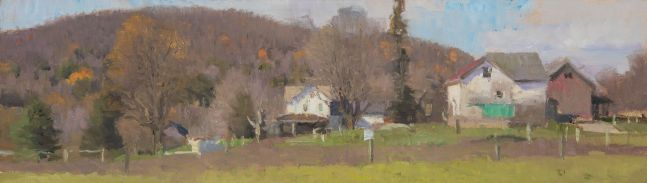 """Vermont Late October  5"""" x 17.75""""  Oil On Panel"""