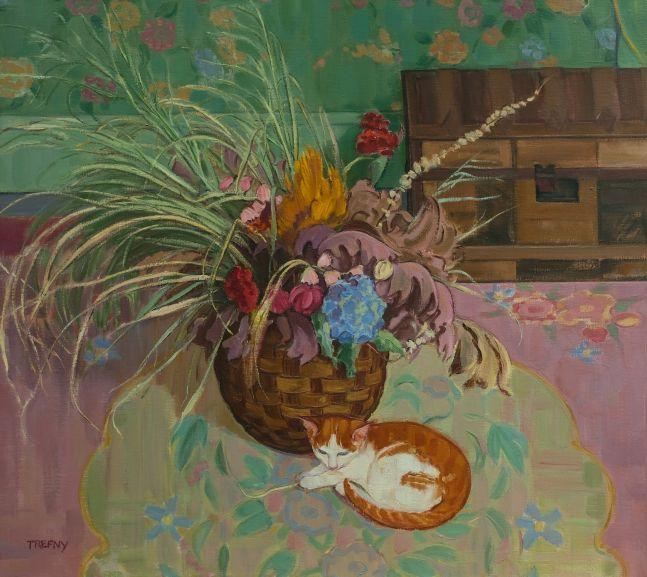 "Frank Trefny, Kitten And Dried Flowers 34"" x 38""   Oil On Linen"