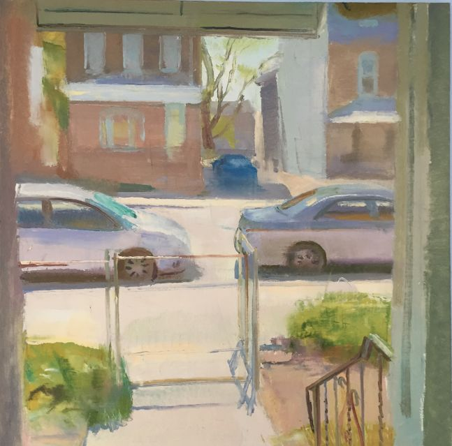 """Front Yard in April  28"""" x 26""""  Oil On Linen"""