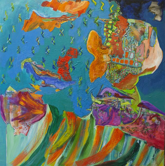 """Artist Benjamin Passione, 40"""" by 40"""", Oil On Canvas, Titled Dancing Under Water"""