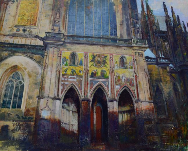 "Prague (Message To The Proletariat)  48"" x 60""  Encaustic"