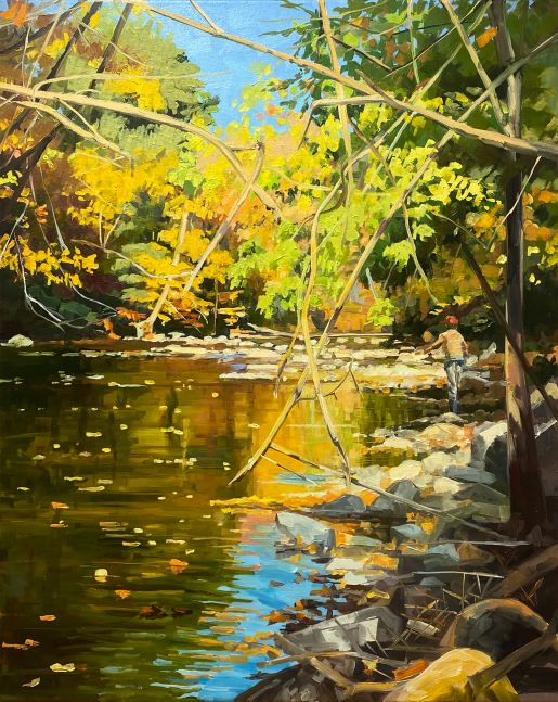 """Elaine Lisle, Crossed Branches On The Street  30"""" x 24""""  Oil On Canvas"""
