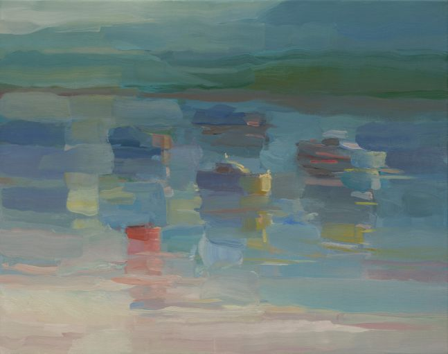 """Harbor Reflections In The Fog  22"""" x 28""""  Oil On Linen"""