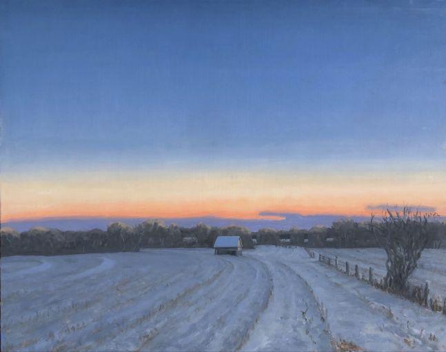 "Corn Crib, Winter Fields  24"" x 30""  Oil On Canvas"