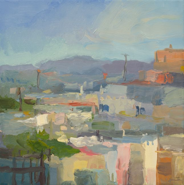 """Rooftops And Distant Mountains (SOLD) 14"""" x 14""""  Oil On Linen"""
