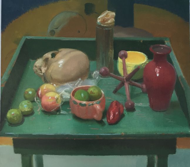 """Green Table with Limes  30"""" x 35""""  Oil On Linen"""
