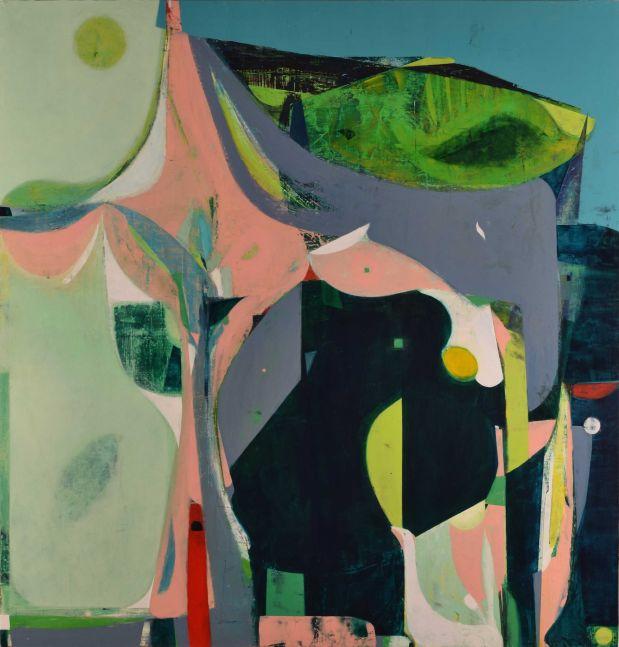 "Burden (Pink And Black Magnolia)  46"" x 48""  Acrylic On Panel"