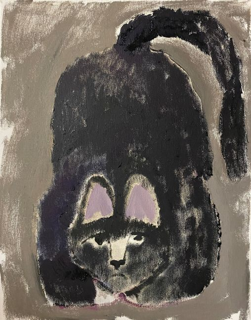 """Scaredy Cat - Gray And Black  22"""" x 22""""  Oil On Canvas"""