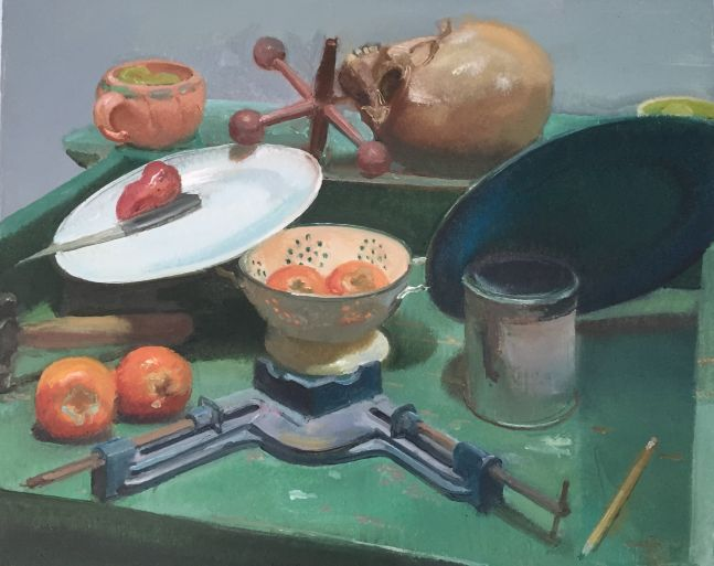 """Green Table with Persimmons  24"""" x 30""""  Oil On Linen"""