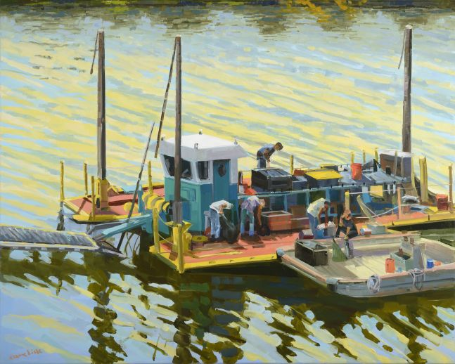 "Dredger On The Schuylkill  24"" x 30""  Oil On Canvas"