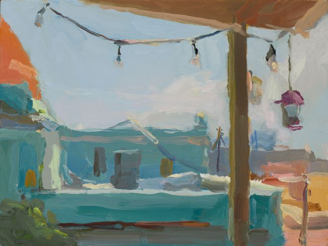 Terrace with String of Lights, Old San Juan 12x16 oil on linen 2020