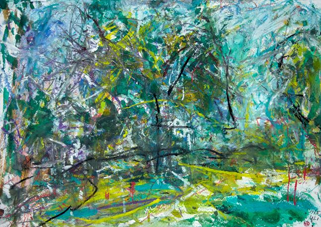 """By The Nature Trail  14"""" x 10""""  Mixed Media On Paper"""