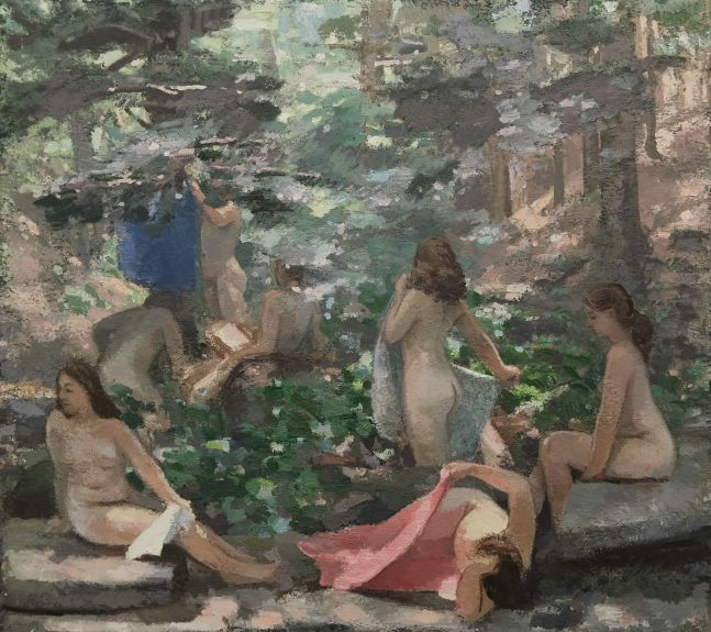 "Bathers In The Glen  64"" x 72""  Oil On Linen"