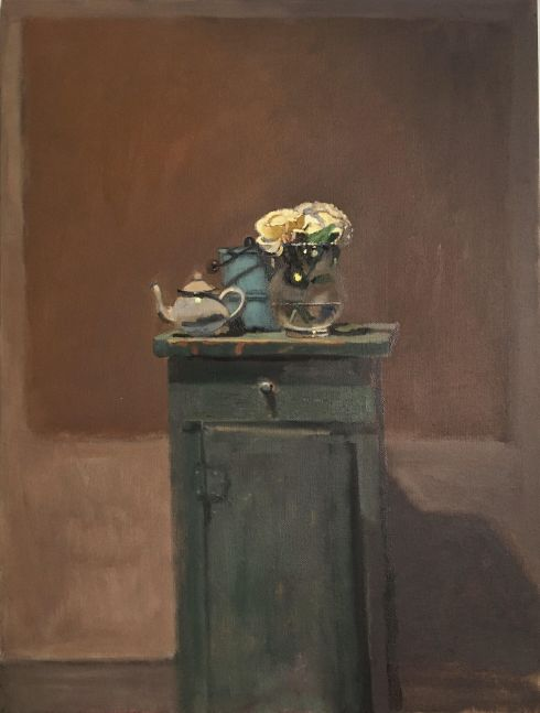 """Roses On The Green Cabinet  24"""" x 18""""   Oil On Canvas"""