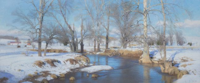 """Bend In The Creek  26.25"""" x 63""""  Oil On Canvas"""