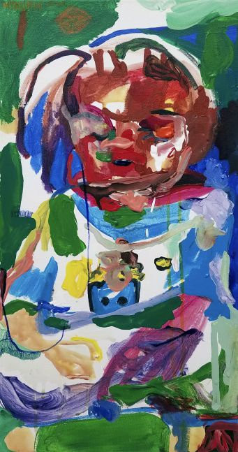 "Mickayel Thurin, Popcorn Man  24"" x 12""  Mixed Media On Canvas"