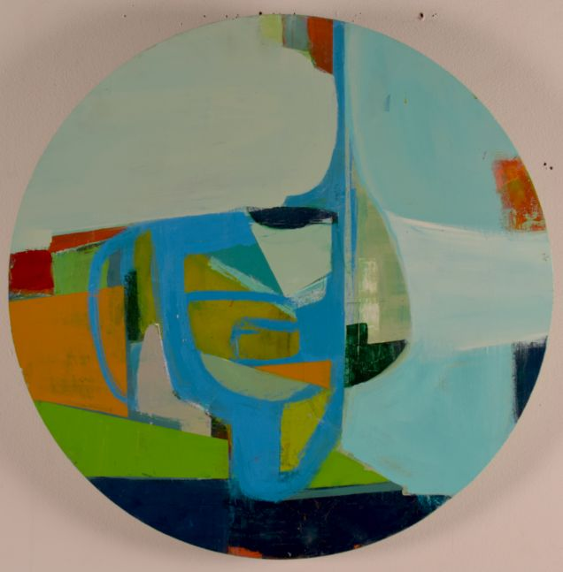 "Landscape With Notes And Rest  24"" Diameter  Acrylic On Panel"