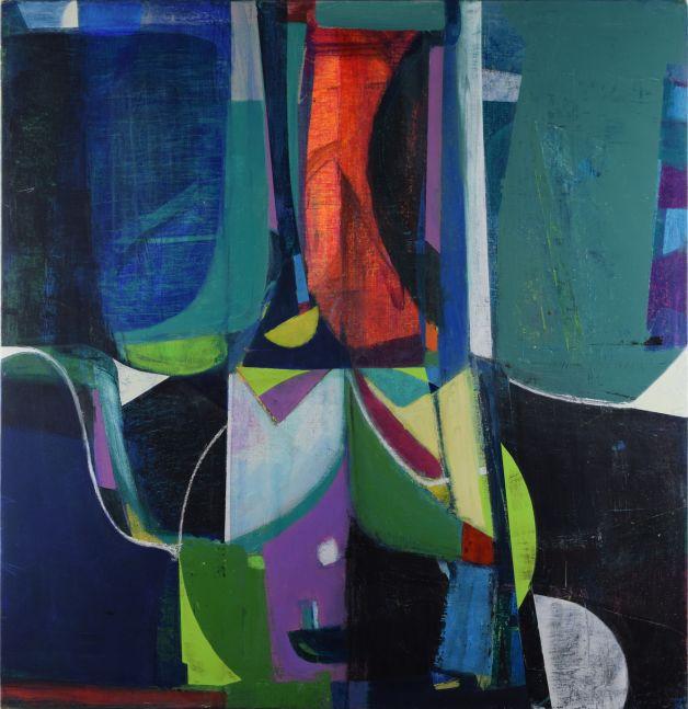"Black Swan At Night  37"" x 36""  Acrylic On Canvas On Panel"