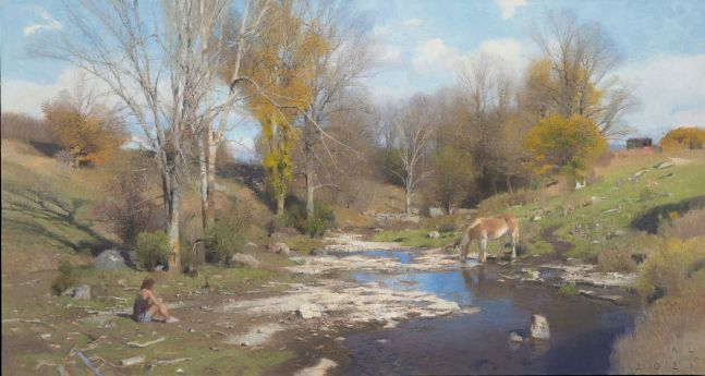 """Ledges In The Stream  24.25 x 46.5""""  Oil On Canvas"""
