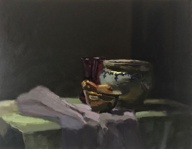 """Planter With Gourds  11"""" x 14""""  Oil On Panel"""