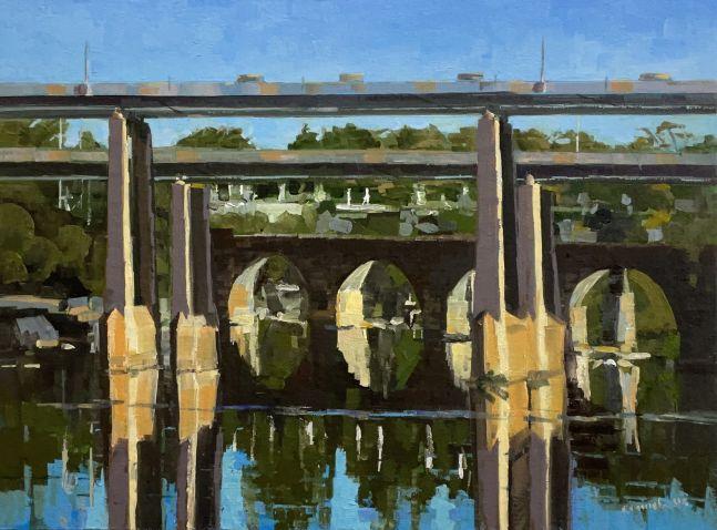 "River Bridges  12"" x 16""  Oil On Board"