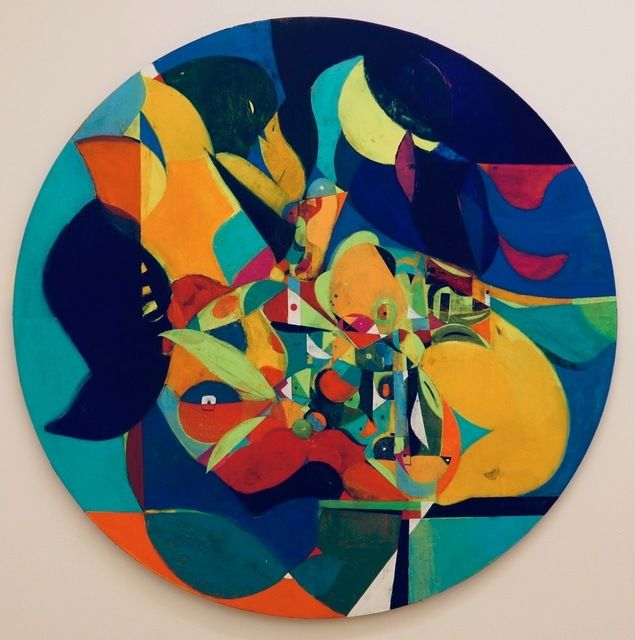 """Large Tondo/Tabletop Still Life With Birds And Pears  64"""" Diameter  Acrylic On Panel"""