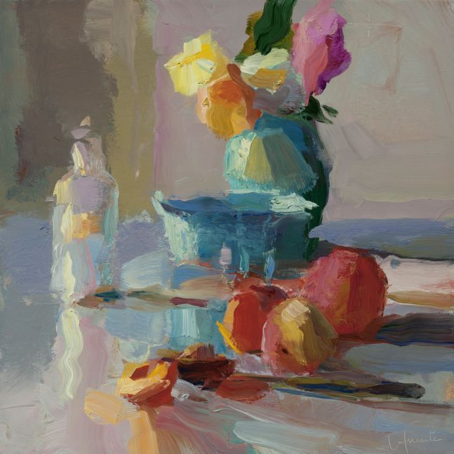 "Peaches, Bottle, and Dahlias  14"" x 14""  Oil On Linen"