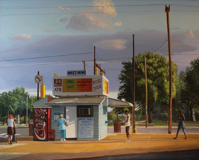 """Mike's News  48"""" x 60""""  Oil On Canvas"""