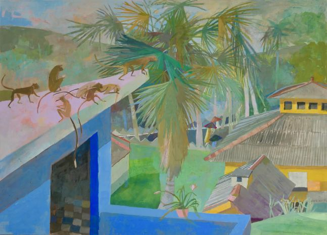 "View From Kusima's House  14"" x 20""  Gouache On Paper With Beeswax"