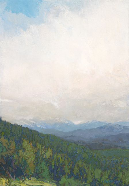 """Cloud Hidden-Yellowstone-Distant Flurry  15.5"""" x 11""""  Oil/Paper Mounted On Hardwood Panel"""