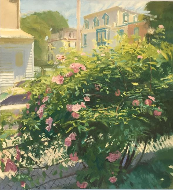 """Roses On Pensdale  30"""" x 28""""  Oil On Linen"""