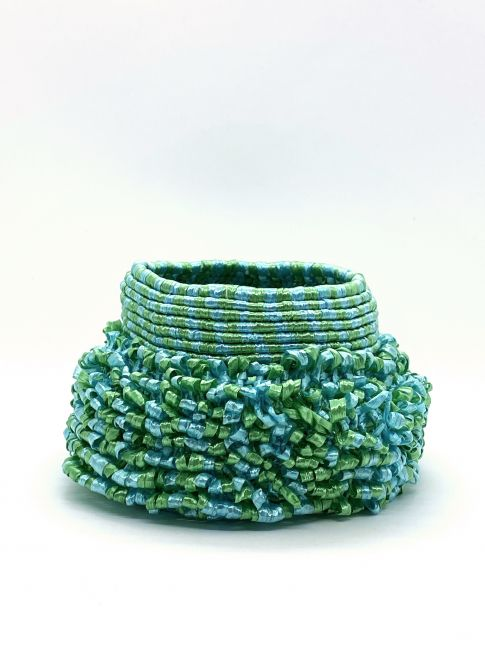 """Blue And Green  4"""" x 5"""" x 5""""  Ribbon And Polyester Cording"""