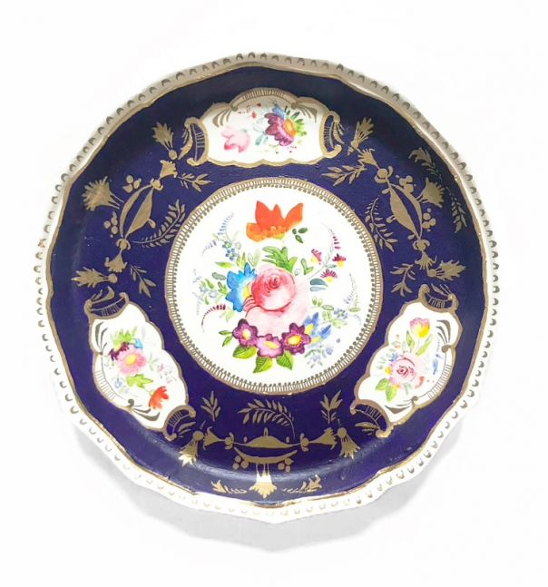 """Elizabeth Hamilton, Private Collection Series: Derby Porcelain Factory 1750 - 1848  9"""" Diameter  Watercolor And Mixed Media On Paper"""