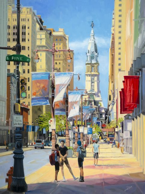 "Broad Street Banter  40"" x 30""  Oil On Canvas"