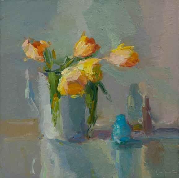 "Tulips And Bottles  16"" x 16""  Oil On Linen"