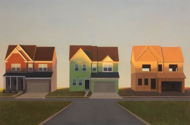 """Little Boxes, 24"""" x 36"""", Oil On Linen-Mounted Panel"""